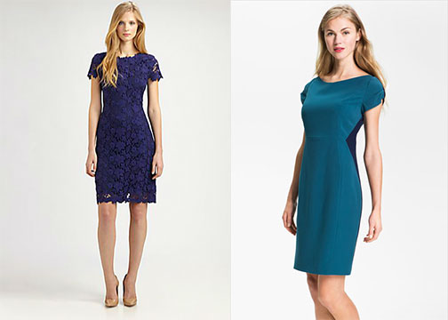 L to R: Elie Tahari Cotton Lolly Dress, $498, Saks Fifth Avenue; T Tahari Calli Colorblock Dress, $128, Nordstrom