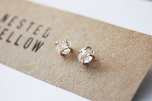 Herkimer diamond and gold-filled stud earring by Anna Vasquez, $56.00, Etsy