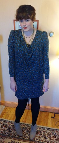 The Clydes, styled for winter. Dress: French Connection, Tights: Legale, Necklace: Eddie Bauer, Shoes: Barefoot Tess