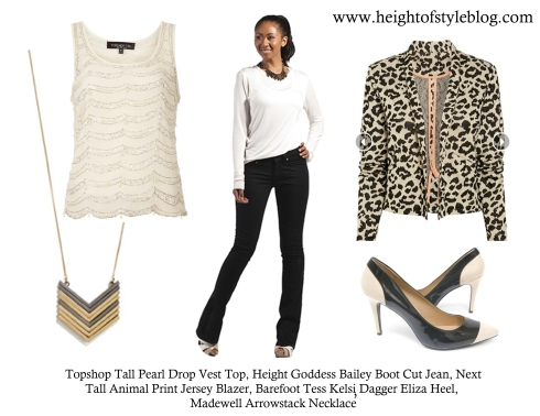 An edgy-chic tall outfit for drinks, bites, and beyond!