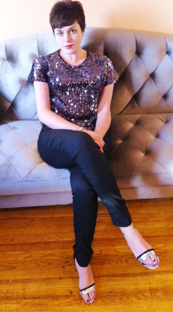 In a velvet sequined tee, the Jacquard Pull-On Skinny, and my Cairns heels...