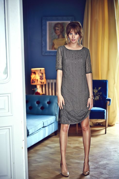 The perfect sequined tunic dress ($249)...